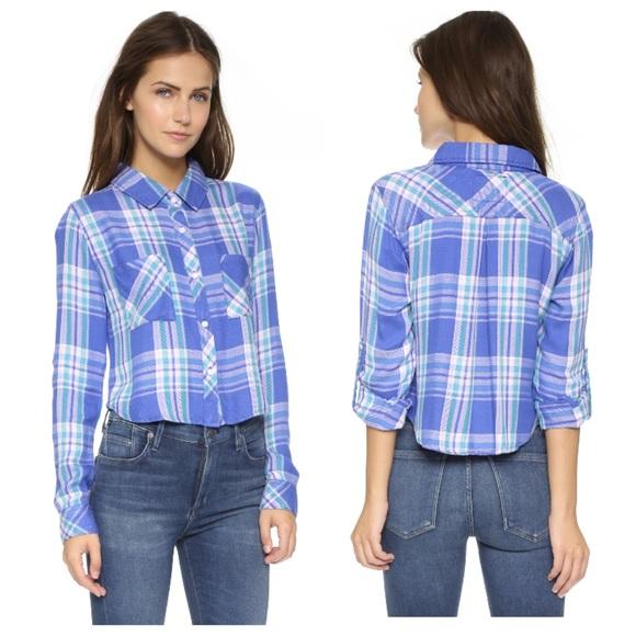 f51f682d ... Cropped Plaid Shirt in Blue Violet. M_5b9b40577386bc7cd324ee71